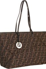 Fendi Tobacco and Violet Quilted Zucca Roll Large Tote - Lyst