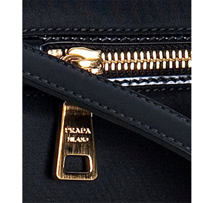 replica handbags prada - Prada Black Nylon Leather Trim Flat Shoulder Bag in Black | Lyst