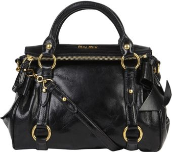 Miu Miu Mini Black Vitello Bow Bag - Lyst