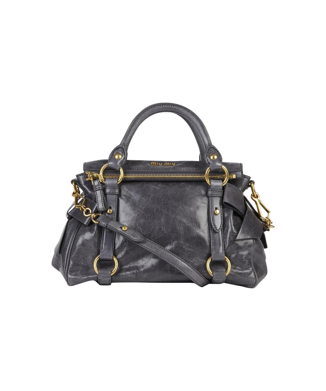7af24725cacd Lyst - Miu Miu Mini Grey Vitello Bow Bag in Gray
