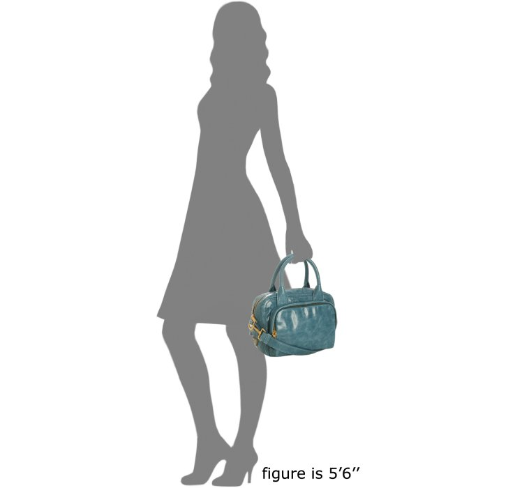 prada for less - Prada Azzurro Vitello Shine Leather Bauletto Small Zip Satchel in ...