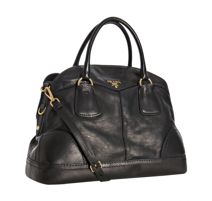 Prada Black Calfskin Large Bauletto Bowling Bag in Black | Lyst