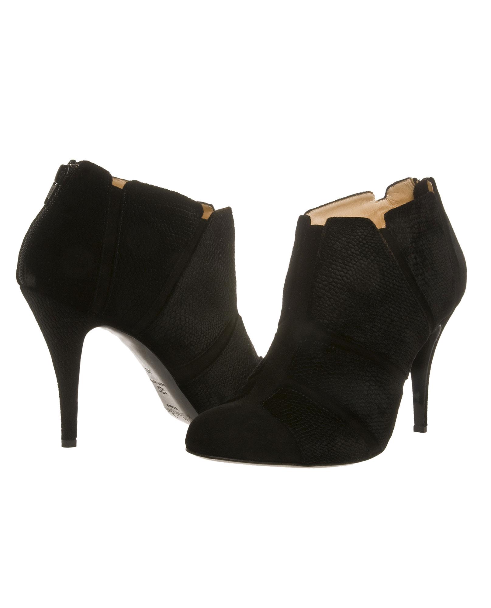 bionda castana black suede and velvet shoe boot in black