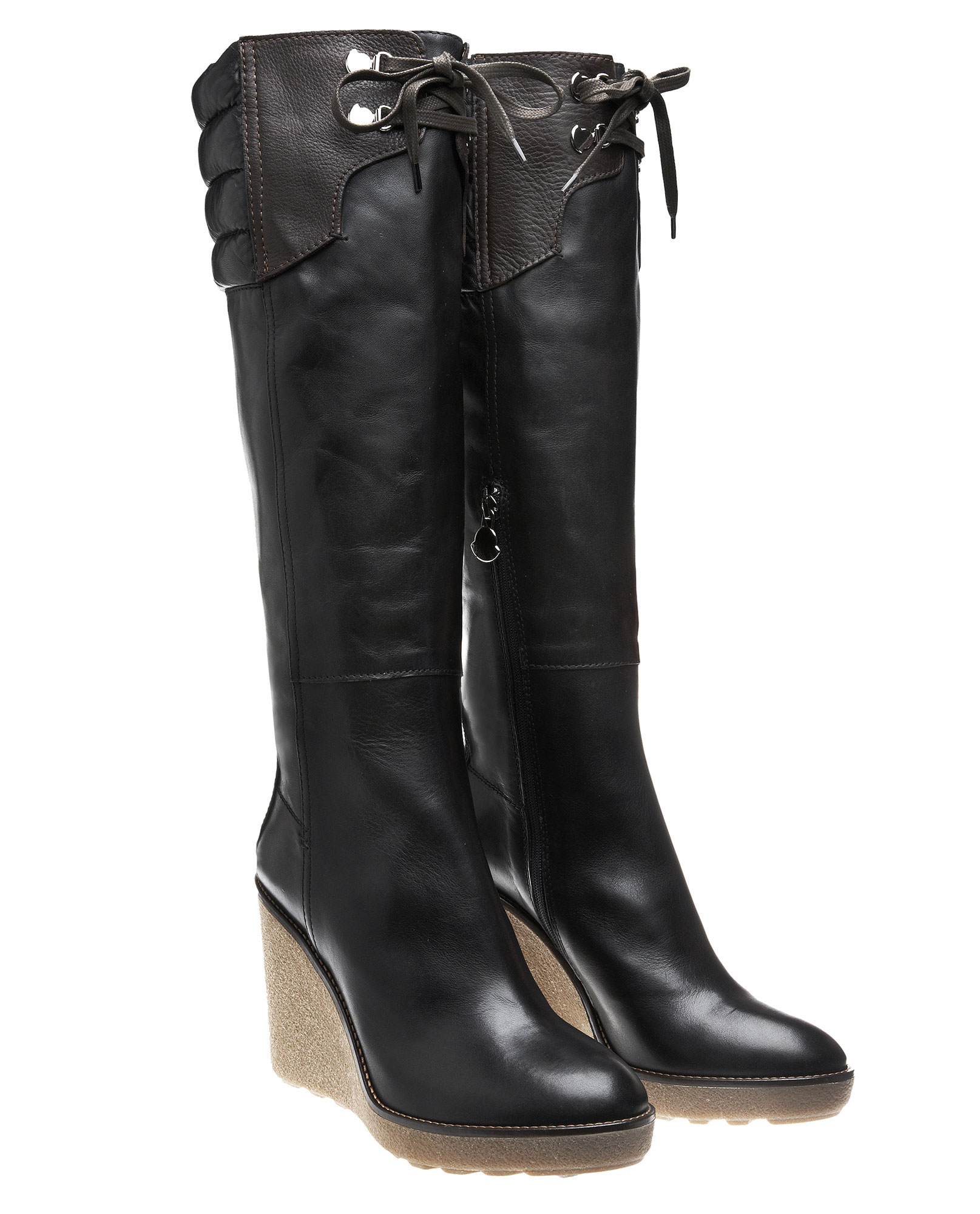 moncler passy knee high boot with wedge in black lyst
