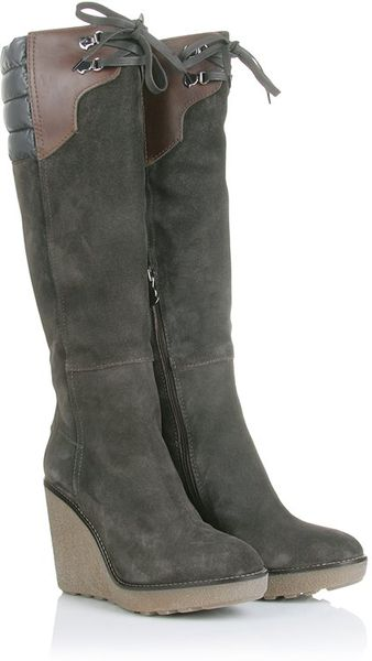 moncler suede wedge boots in brown lyst