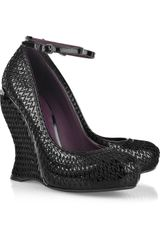 Bottega Veneta Overstitched Patent-leather Wedge Pumps - Lyst