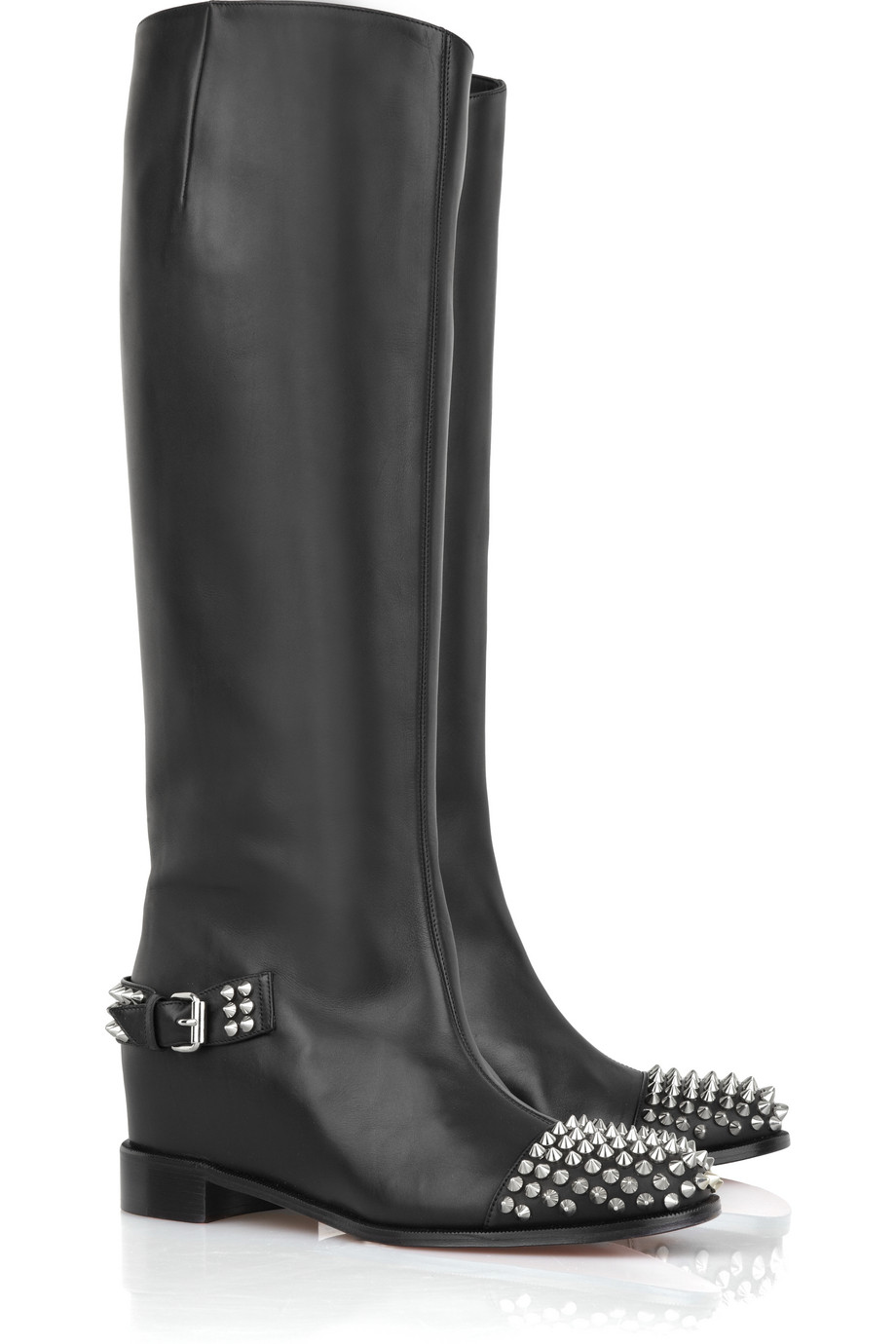 Christian Louboutin Egoutina Studded Leather Boots in Black - Lyst