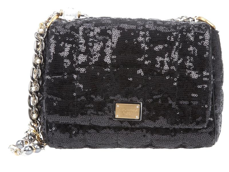 d6fff6c0f5 Dolce   Gabbana Miss Charles Sequin Bag in Black - Lyst