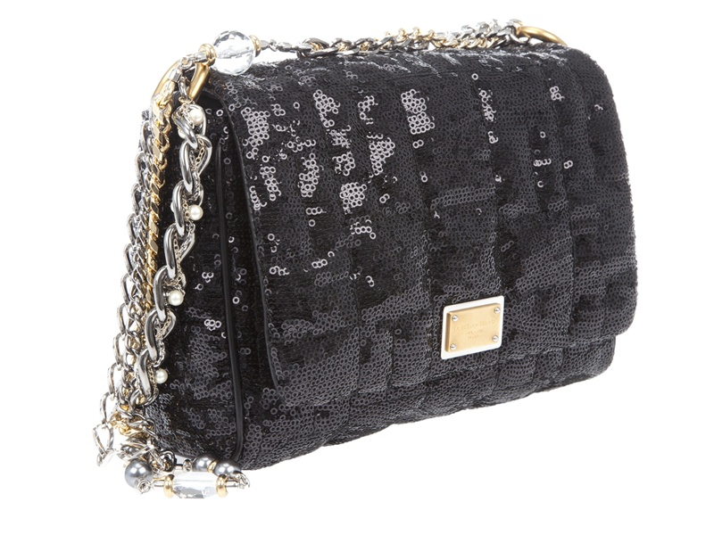 d6c4e4164c99 Dolce   Gabbana Miss Charles Sequin Bag in Black - Lyst