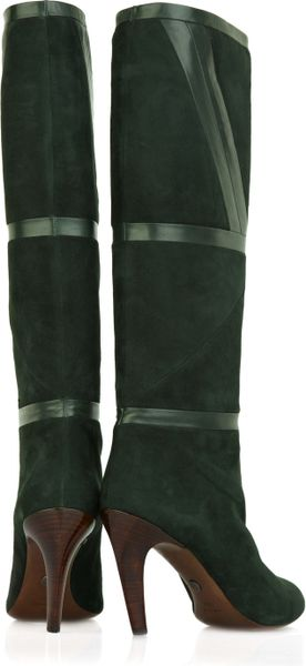 Emilio Pucci Suede Knee High Boots In Green Lyst