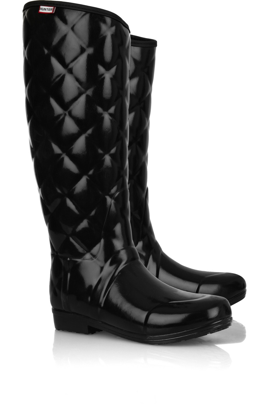 Hunter Regent Savoy Quilted Wellington Boots In Black Lyst