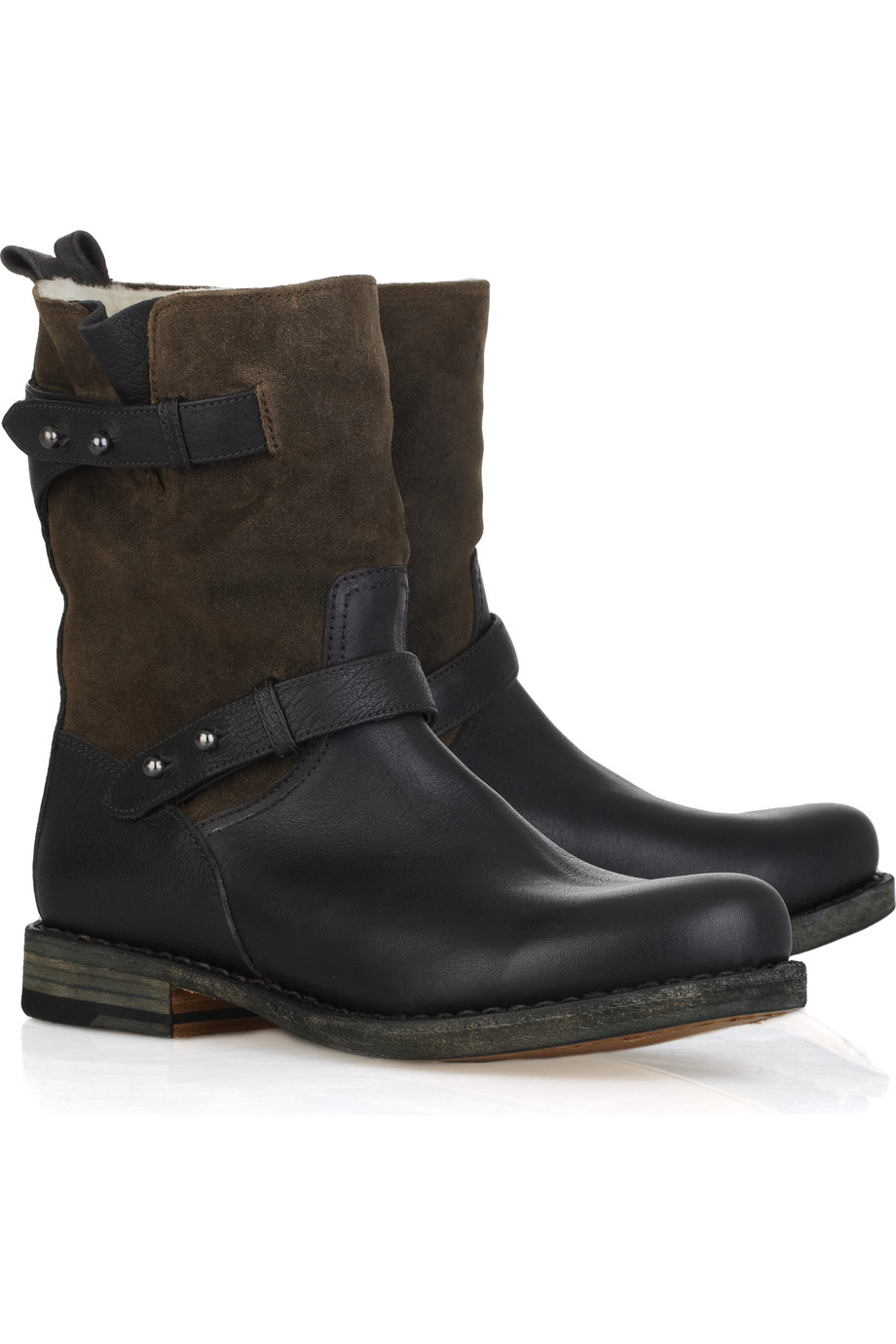 rag bone moto leather and suede boot in brown black lyst