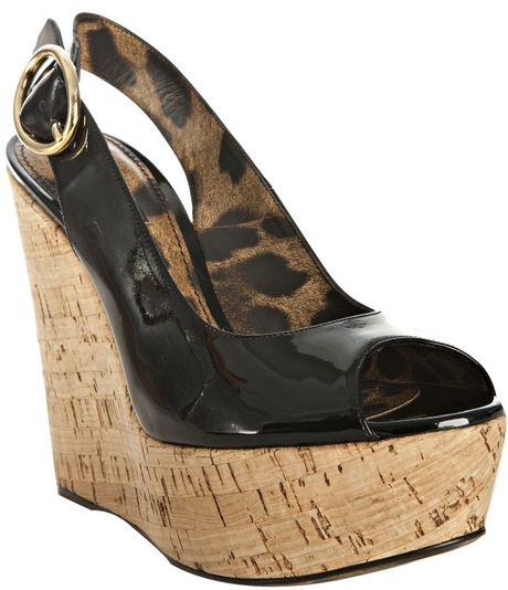 dolce gabbana black patent leather cork wedge sandals in