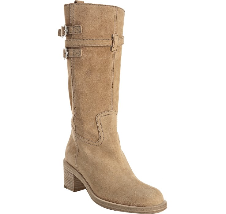 gucci light brown suede buckle detail boots in brown lyst