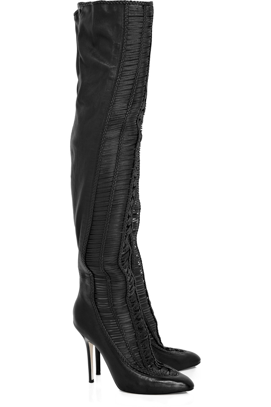 jimmy choo thigh high leather boots in black lyst