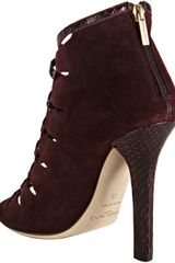 Jimmy Choo Bordeaux Suede and Snakeskin Kassidy Peep Toe Booties in Purple (bordeaux) - Lyst