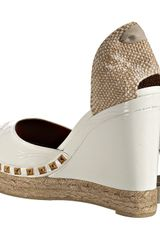 Marc Jacobs White Studded Patent Platform Espadrilles in White - Lyst