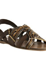 Miu Miu Brown Leather Metallic Detail Flat Sandals - Lyst