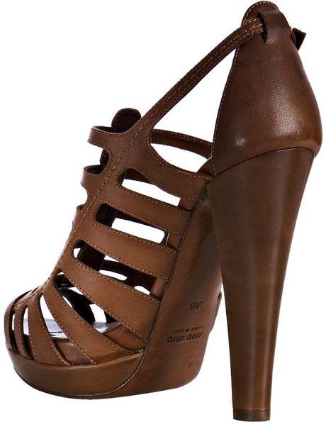Miu Miu Coconut Leather Cage Platform Sandals in Brown ...