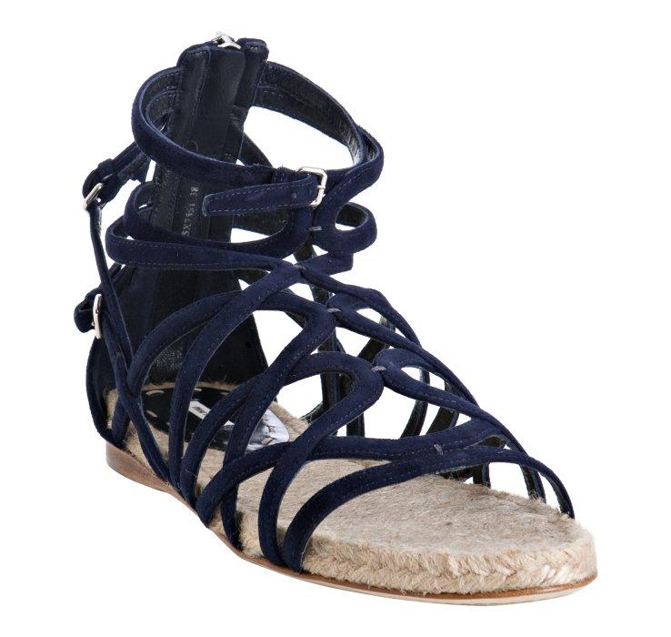 Miu Miu Navy Strappy Suede Flat Sandals In Blue Navy Lyst