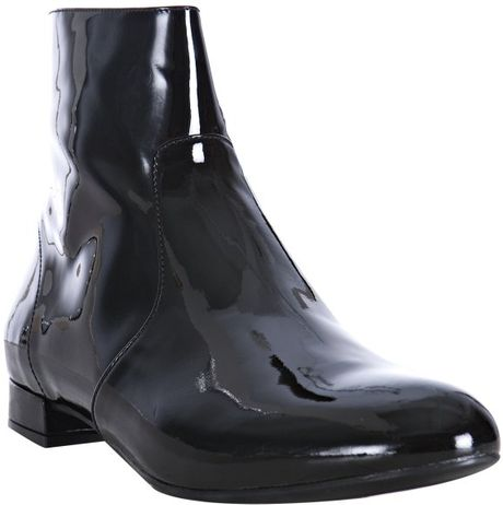 prada black patent leather flat boots in black lyst
