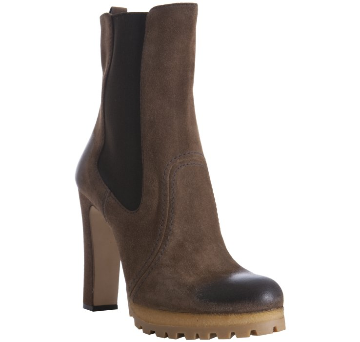 prada cigar brown suede lug platform boots in brown