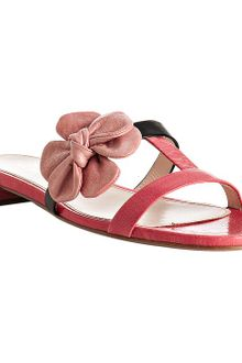 Prada Coral Leather Floral Detail Flat Sandals - Lyst