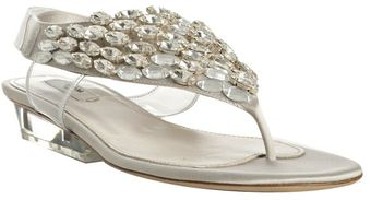Prada Light Grey Crystal Satin Thong Sandals - Lyst