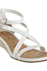 Prada Sport White Patent Leather Jute Wedge Sandals - Lyst