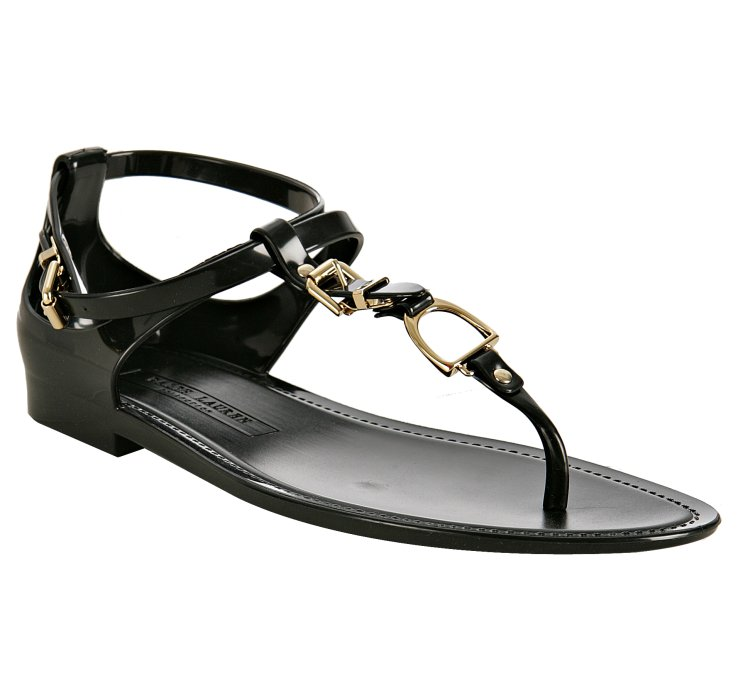 Ralph Lauren Collection Black Karly Jelly Thong Sandals In