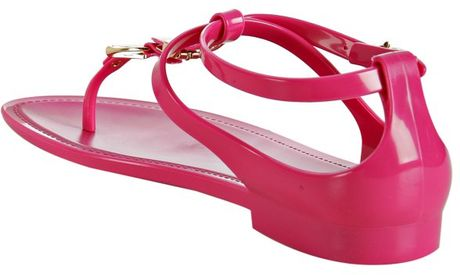 Ralph Lauren Collection Fuchsia Karly Jelly Thong Sandals