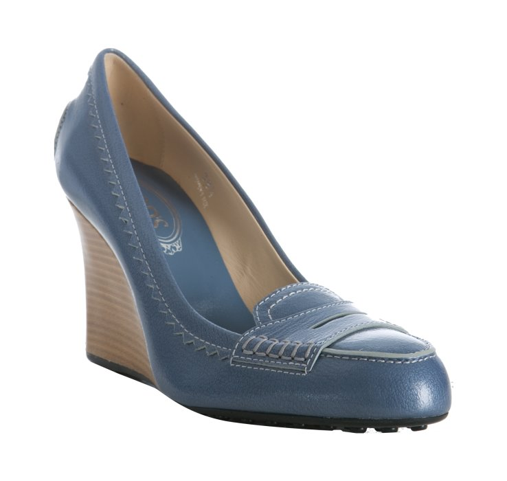 tod s light blue leather newze loafer wedges in blue lyst