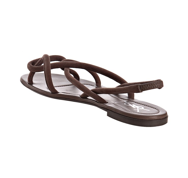 Saint Laurent Brown Suede Nikki Slingback Flat Sandals In