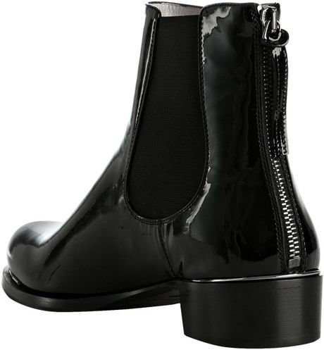 miu miu black patent leather chelsea boots in black lyst