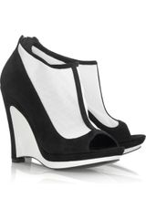 Fendi Suede Wedge Shoe Boots in Black - Lyst