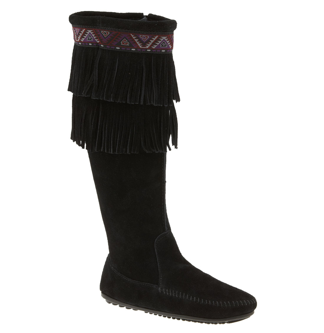 minnetonka fringe knee high boot in black lyst