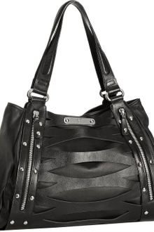 Giuseppe Zanotti Black Leather Cutout Detail Medium Tote - Lyst