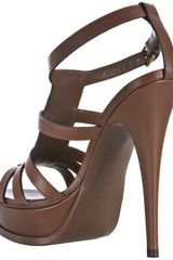 Saint Laurent Chocolate Leather New Riveg Platform Sandals in Brown (chocolate) - Lyst