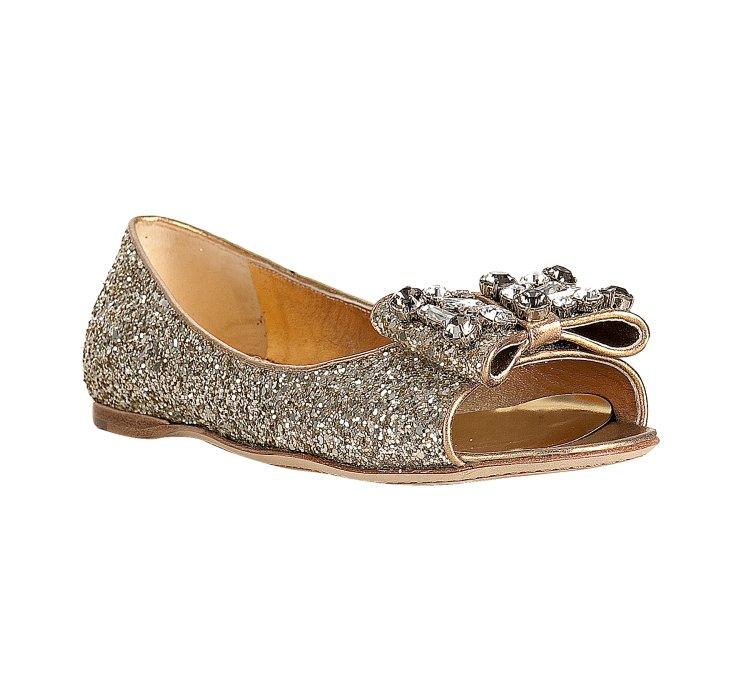 Lyst Miu Miu Silver Glitter Gold Leather Bow Detail Peep