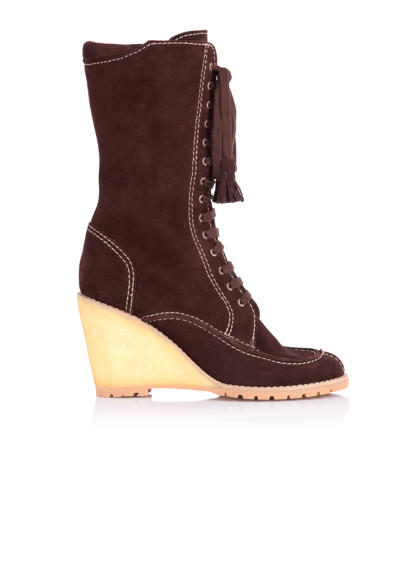 see by chlo 233 lace up suede wedge boot in brown lyst