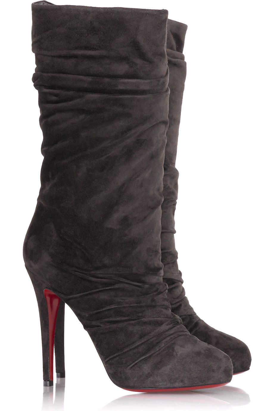 Christian Louboutin Suede Piros Mid Calf Boots Replica Louboutin Shoes For Sale