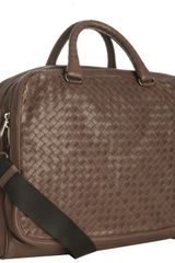 Bottega Veneta Brown Woven Leather Crossbody Briefcase - Lyst