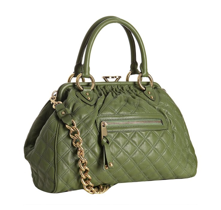 Marc Jacobs Olive Quilted Leather Stam Handbag In Green