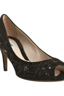 Moschino Cheap & Chic Black Suede Floral Beaded Peep Toe Pumps - Lyst