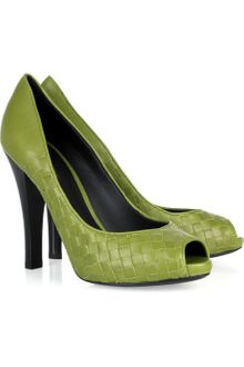 Bottega Veneta Intrecciato Leather Peep-toe Pumps - Lyst