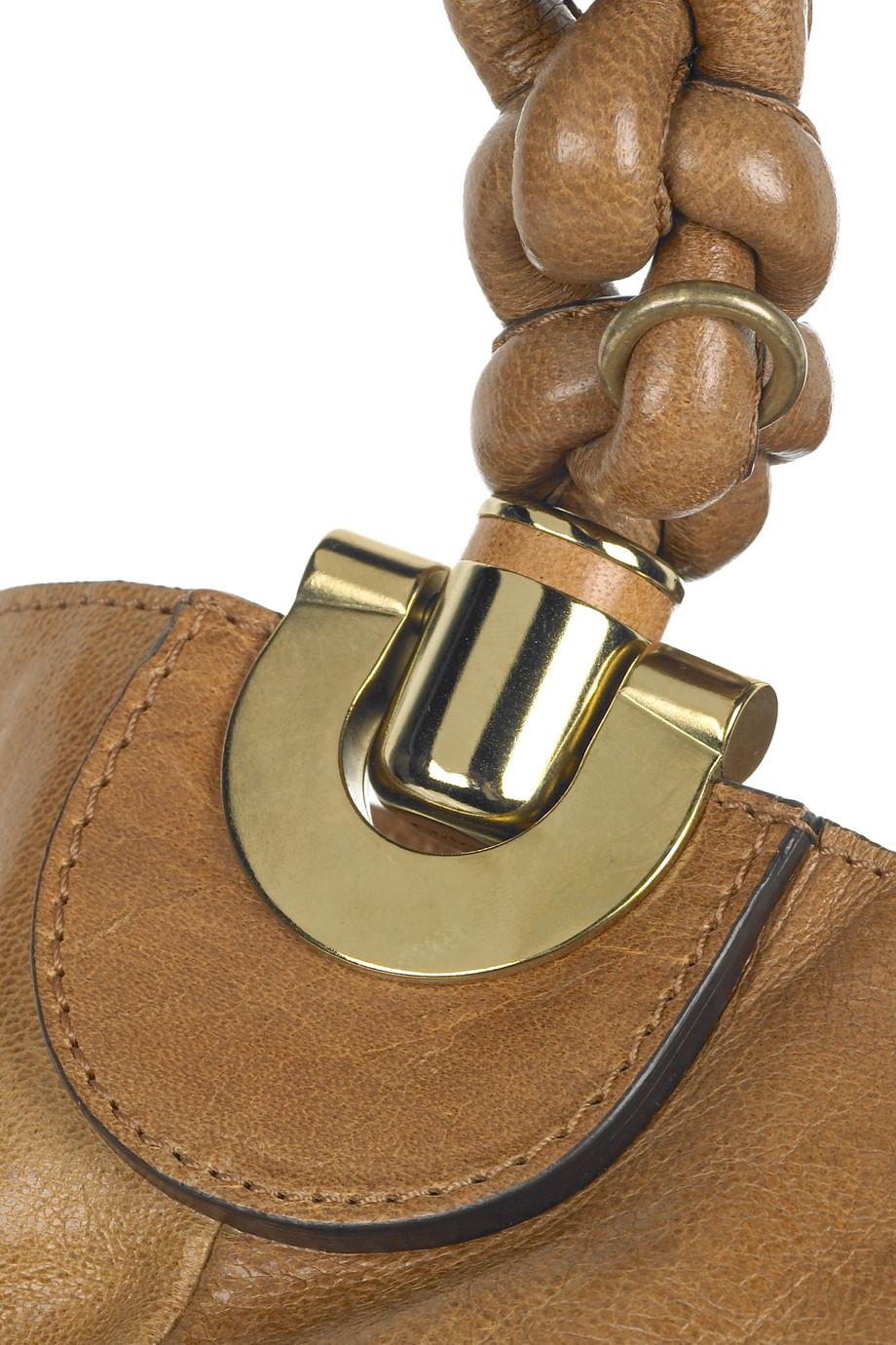 Chlo¨¦ Heloise Leather Hobo Bag in Beige (camel) | Lyst