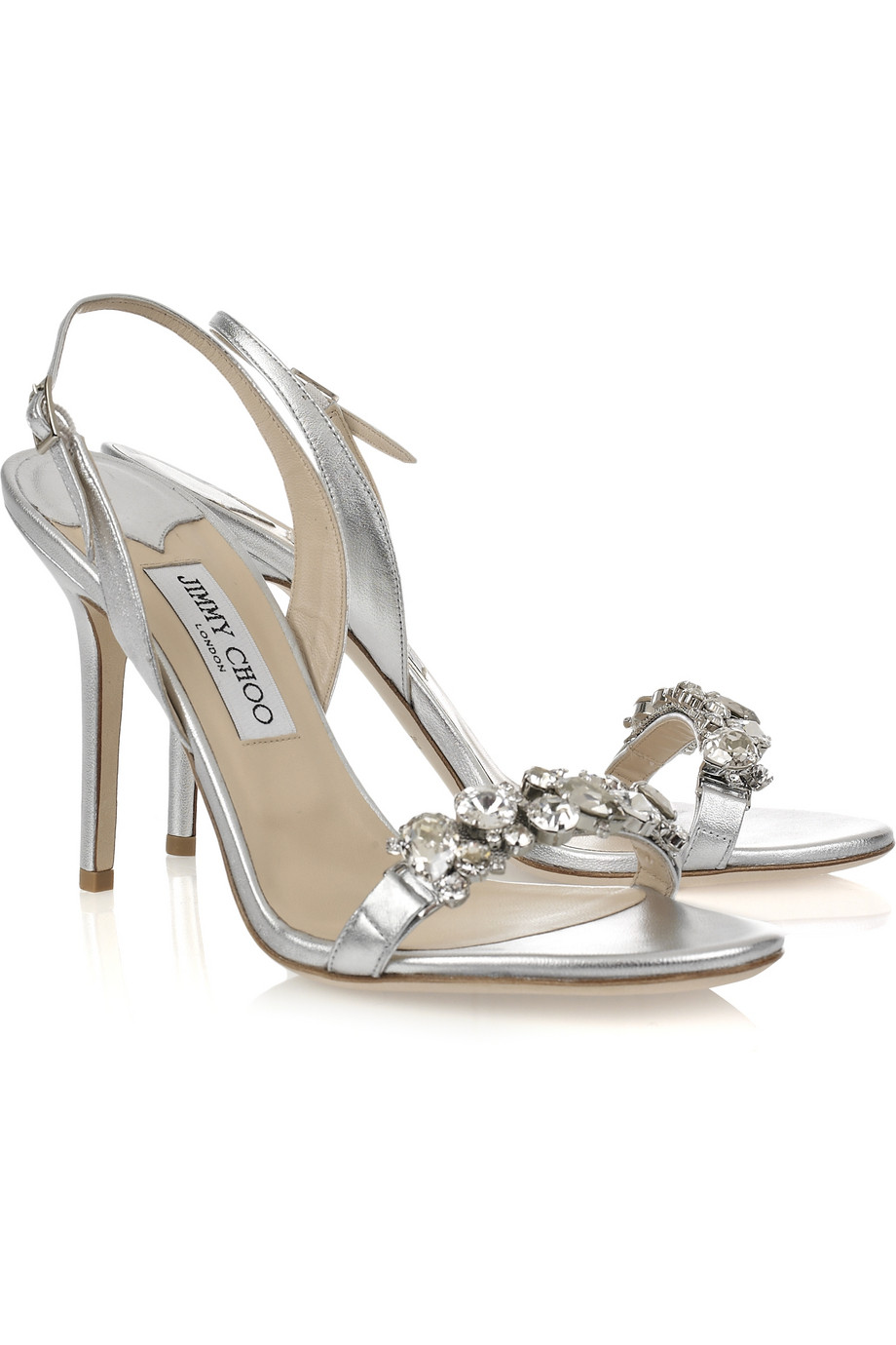 Clearance Jimmy Choo Sandals - Shoes Jimmy Choo Silver Lotus Crystal Embellished Leather Sandals Other