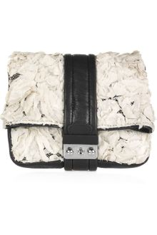 3.1 Phillip Lim Cameron Leather and Silk Flower Clutch - Lyst