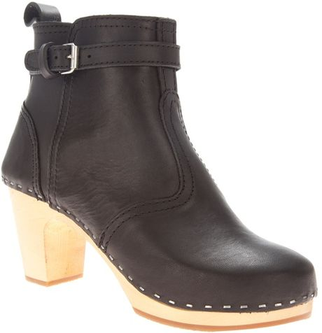 swedish hasbeens clog style ankle boot in black lyst