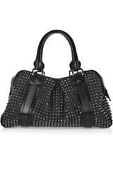 Burberry Studded Leather Knight Bag in Black - Lyst
